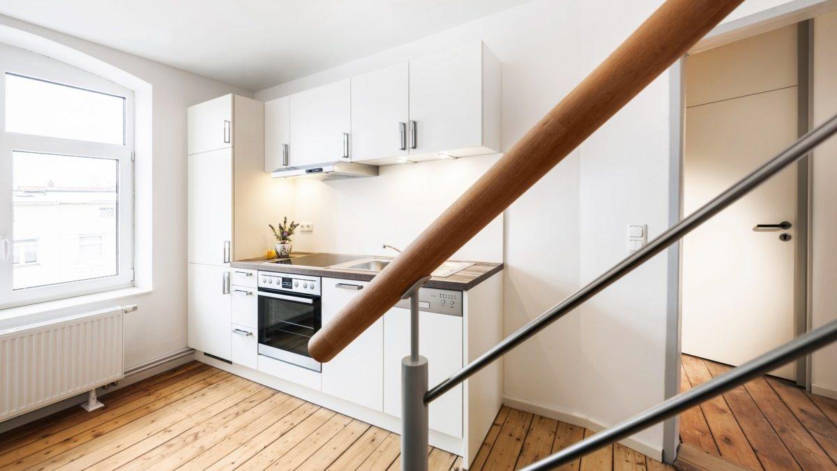 Die Wohnung im Dachgeschoss der linken Haushälfte